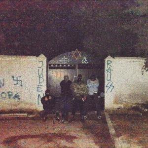 Commemorative photo of desecration of Jewish cemetery in Larissa so